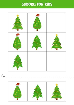 Sudoku with three pictures for preschool kids. logical game with christmas trees.