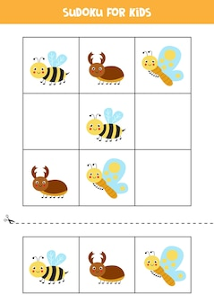 Sudoku with three pictures for preschool kids. logical game with cute insects.