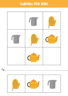 Sudoku with three pictures for preschool kids. logical game with kitchen utensils.