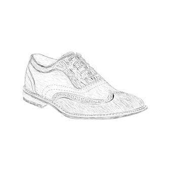 Suede wingtips illustration in hand drawn vector