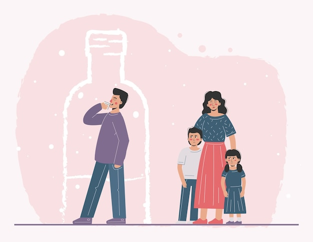 A suffering family where the father is an alcoholic