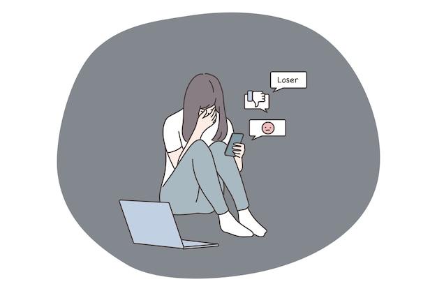 ソーシャルメディアネットワークでのいじめと悪いニュースに苦しんでいる