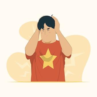 Страдание от головной боли, отчаянная стрессовая боль, мигрень