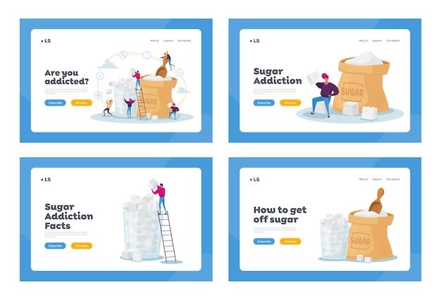 설탕 중독 방문 페이지 템플릿 세트. 거대한 자루의 작은 캐릭터와 지팡이 설탕 잔
