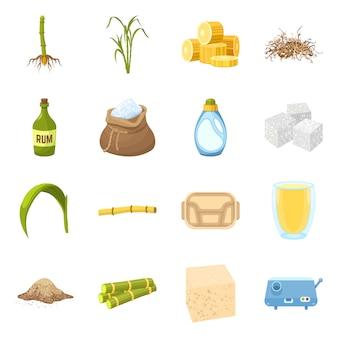 Мультфильм элементы сахарного тростника. установите элементы сахарного тростника с натуральными листьями на ферме.