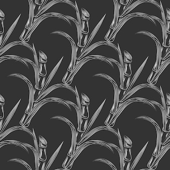 Sugar cane stalks with leaves seamless pattern. sugar stalk cane seamless. engraving style vector illustration