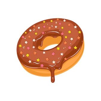 Пончик в сахарной шоколадной глазури со звездочками