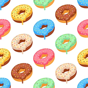 Sugar colorful glazed donut seamless pattern