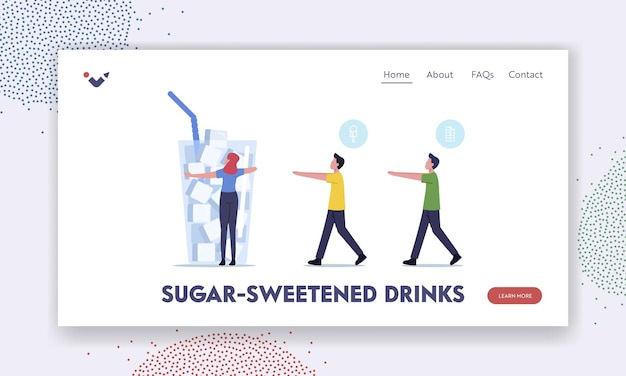 Sugar, consumption, addiction landing page template. tiny characters walk like zombie to huge glass with sugar cubes. people addict of overdose glucose eating problem. cartoon vector illustration