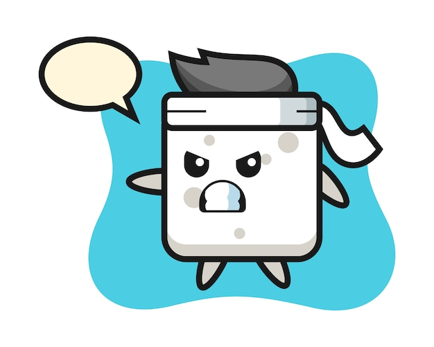 Sugar cube cartoon illustration as a karate fighter, cute style  for t shirt, sticker, logo element