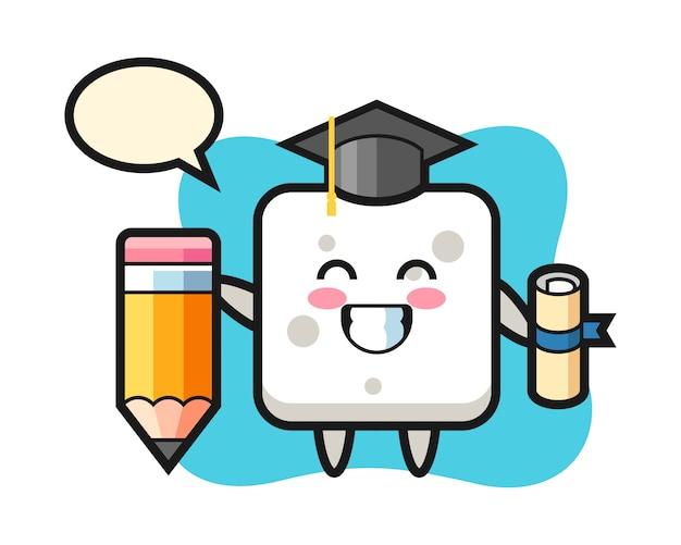 Шарж иллюстрации кубика сахара - выпускной с гигантским карандашом, милый стиль для футболки, стикер, элемент логотипа