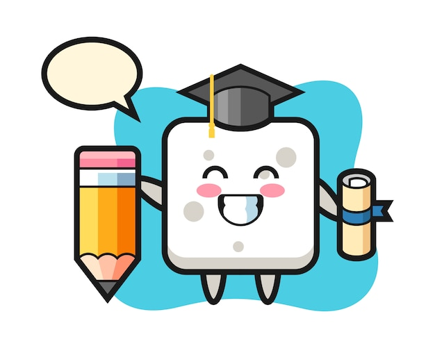 Sugar cube illustration cartoon is graduation with a giant pencil, cute style  for t shirt, sticker, logo element