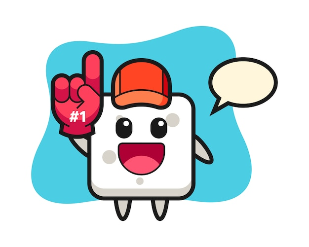 Sugar cube illustration cartoon with number 1 fans glove, cute style  for t shirt, sticker, logo element