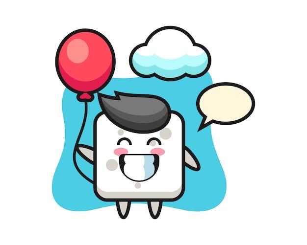 Иллюстрация талисмана кубика сахара играет воздушный шар, милый стиль для футболки, стикера, элемента логотипа