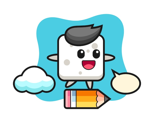 Sugar cube mascot illustration riding on a giant pencil, cute style  for t shirt, sticker, logo element