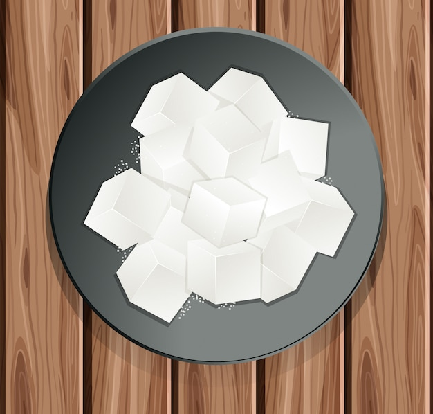 Sugar cube in the plate