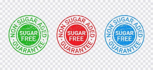 シュガーフリーのグランジスタンプ。砂糖を加えたエンブレムはありません。ベクトルイラスト。