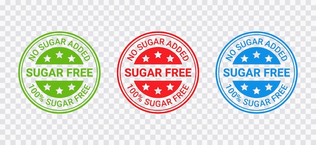 Sugar free stamp. no sugar added round label. diabetic imprint badge. green, red and blue seal marks