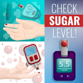 Sugar glucose meter banner set, cartoon style