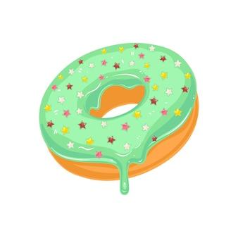 星が散りばめられたシュガーグリーンの艶をかけられたドーナツ