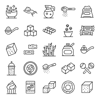 Sugar icons set, outline style