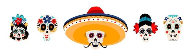 シュガーメキシコの頭蓋骨フラットイラストセット。白で隔離された花を持つスケルトンの頭。ソンブレロの帽子に口ひげを生やした頭蓋骨。 dia de losmuertos休日の伝統的な装飾