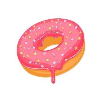 シュガーピンクの艶をかけられたドーナツに振りかける