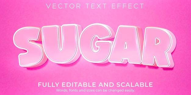 Sugar pink text effect, editable light and soft text style