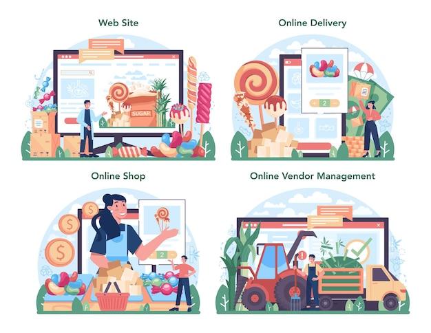 설탕 생산 산업 온라인 서비스 또는 플랫폼 세트. 사카로스 추출. 작물 재배 및 가공. 온라인 배송, 상점, 공급업체 관리, 웹사이트. 평면 벡터 일러스트 레이 션