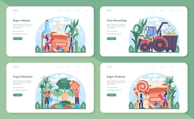설탕 생산 산업 웹 배너 또는 방문 페이지 세트. 자당