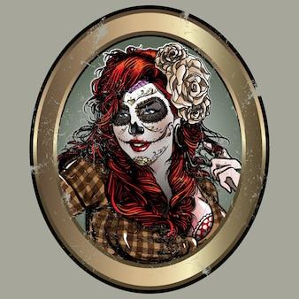 Sugar skull girl vector
