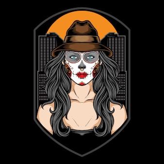 Сахарный череп девушка с шляпой иллюстрации