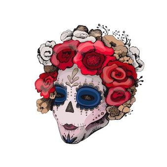 설탕 해골 소녀. 해골 화장과 장미 꽃 화환을 가진 여자. 벡터 빈티지 색상 해칭 흰색 절연입니다. 포스터 멕시코 할로윈, 죽은 자의 날, dia de los muertos day