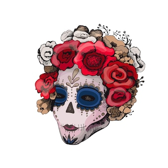Sugar skull girl. woman with skeleton makeup and roses flowers wreath. vector vintage color hatching isolated on white. for poster mexican halloween, day of the dead, dia de los muertos day