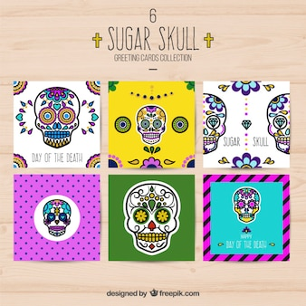 Sugar skull greeting cards collection