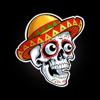 Sugar skull head illustration