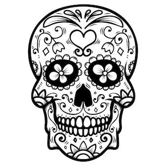 Сахарный череп на белом фоне. день смерти. dia de los muertos. элемент для плаката, открытки, баннера, печати. иллюстрация