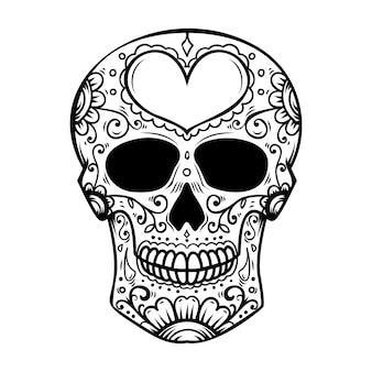 흰색 바탕에 설탕 해골입니다. 죽음의 날. dia de los muertos. 포스터, 카드, 배너, 인쇄용 요소. 삽화