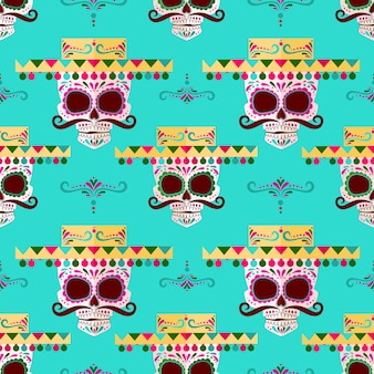 Sugar skull pattern background.