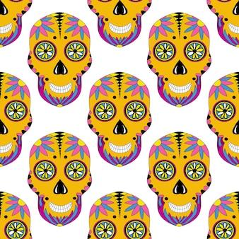 꽃 장식 된 설탕 두개골 패턴입니다. 벡터 멕시코 원활한 인쇄