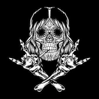 Sugar skull rock and roll isolated black background