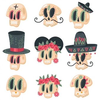 Sugar skull vector cartoon set for day of the dead holiday isolated.