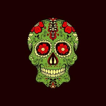 Sugar skull vintage logo