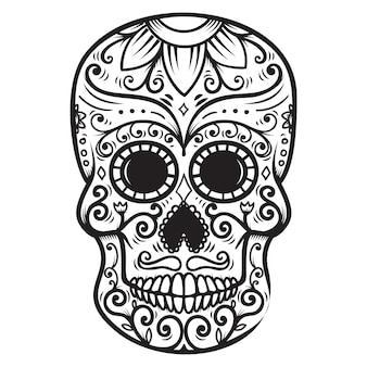 Sugar skull  on white background. day of the dead. dia de los muertos.  element for poster, card, banner, print.  illustration
