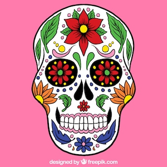 Sugar skull with colorful decoration