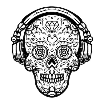 Sugar skull with headphones.  element for poster, card, print, emblem, sign.  image