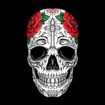 Sugar skull with rose ornament