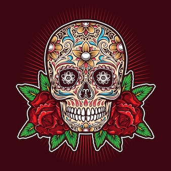 Sugar skull with roses  logo