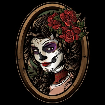 Sugarskull girl vector
