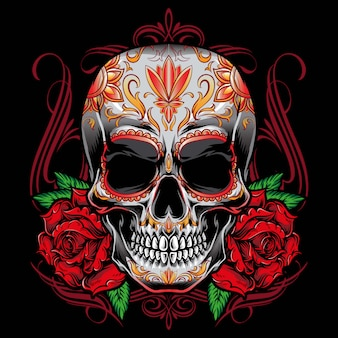 Sugarskull vector with roses ornament